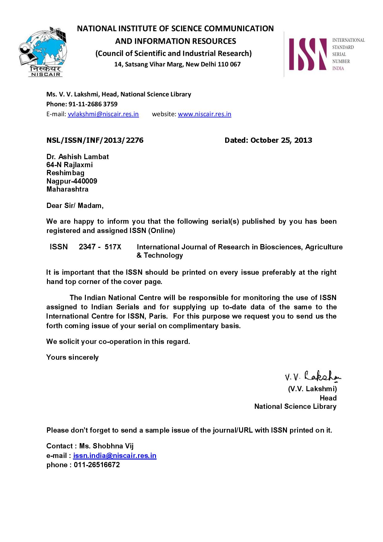 Sanctioned ISSN No. Letter(English)